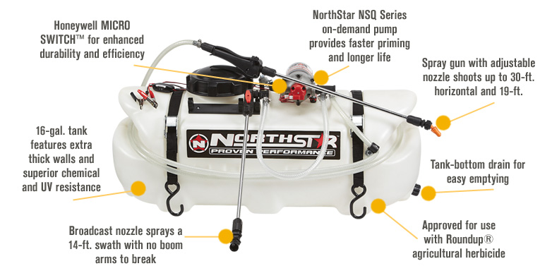 Northstar 16 gal. specs – pull behind sprayer for lawn tractor