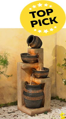 Our Top Pick: Stoneware Bowl and Jar Indoor-Outdoor 46 inch High Fountain