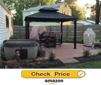 Sunjoy Chatham Hardtop Gazebo -screened gazebos for sale