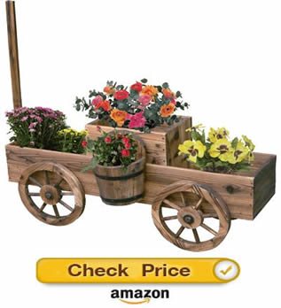 wood burnt wagon - decorative wagons for the yard