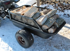 impact- elements wagon pulling split logs - pull behind wagon for lawn mower