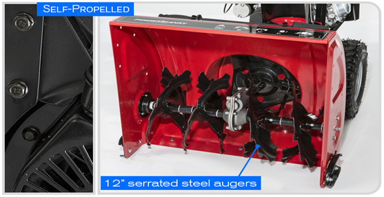 typical two-stage snow blower components