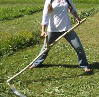woman cutting grass with scythe