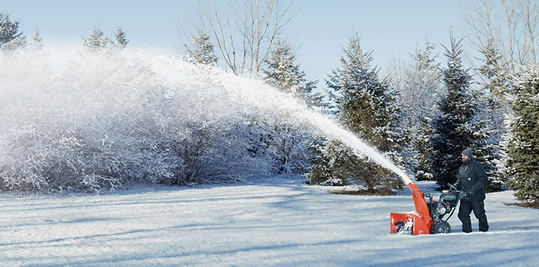 Ariens two-stage snow blower in action