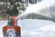 Husqvarna snow blower in action