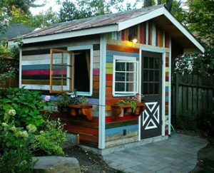 artsy colorful shed